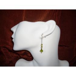 K-00014 Kolczyki z kryształkami Swarovski - oliwkowe