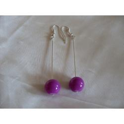 K-00082 Kolczyki fioletowymi kulkami ze szkła