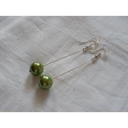 K-00107 Kolczyki z zieloną perłą