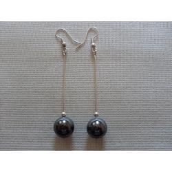 K-00162 Kolczyki z szarą kulą z hematytu