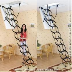 schody nożycowe 130x60cm płyta HDF biała ocieplana H=290cm