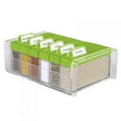 Pudełko na przyprawy + 6 pojemników Spice Box zielone EM-508458...