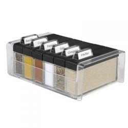 Pudełko na przyprawy + 6 pojemników Spice Box czarne EM-508456...