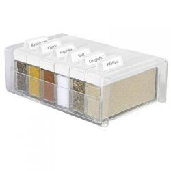 Pudełko na przyprawy + 6 pojemników Spice Box białe EM-508457...