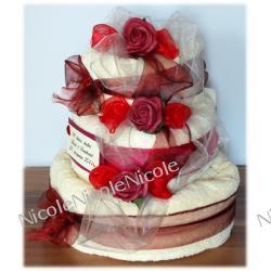 Tort z 4 ręczników: Bordowy
