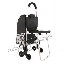 Wózek aluminiowy na zakupy z potrójnymi kołami z siedzeniem KRATA 3KS