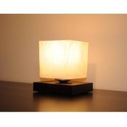 Lampa nocna CUBO wenge - klosz biel alabaster