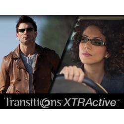 Szkła plastikowe, fotochromowe Transitions XTRActive indeks 1,50. Utwardzone z wielowarstwową powłoką antyrefleksyjną Ideal