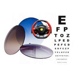 Szkła plastikowe, sferyczne barwione indeks 1,50 z wielowarstwową powłoką antyrefleksyjną dla kierowców Drive Control.