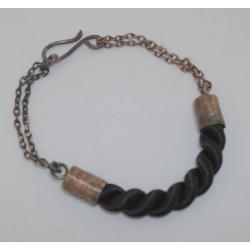 Modna bransoleta z ozdobnego szura i miedzi