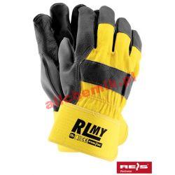 Rękawice ochronne wzmacniane skóra bydlęcą RLMY roz. 10.5 - 1 para [1969]