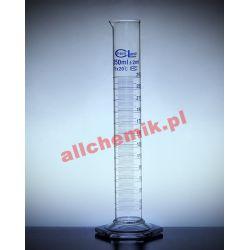 [2183] Cylinder miarowy szklany, stopa szklana sześciokątna - 50 ml