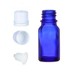 BP10 Butelka szklana niebieska z kroplomierzem i nakrętką z plombą 10 ml