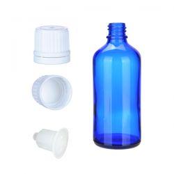 Butelka szklana niebieska z kroplomierzem i nakrętką z plombą 100 ml