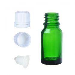 Butelka szklana zielona z kroplomierzem i nakrętką z plombą 10 ml