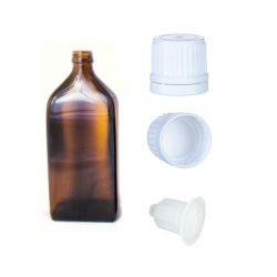 Butelka szklana płaska brązowa z kroplomierzem i nakrętką z plombą 50 ml - 1 szt