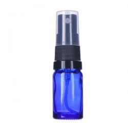 [3413] Butelka szklana niebieska z czarnym atomizerem 10 ml