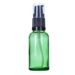 [3404] Butelka szklana zielona z pompką do kremu 30 ml