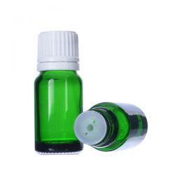 [6021] Butelka szklana zielona z kroplomierzem i nakrętką z plombą 15 ml - 5 szt