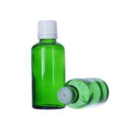 [6022] Butelka szklana zielona z kroplomierzem i nakrętką z plombą 30 ml - 5 szt