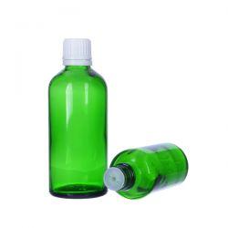 [6023] Butelka szklana zielona z kroplomierzem i nakrętką z plombą 50 ml - 5 szt
