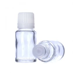 [7021] Butelka szklana bezbarwna z kroplomierzem i nakrętką z plombą 10 ml - 5 szt