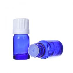[8020] Butelka szklana niebieska z kroplomierzem i nakrętką z plombą 5 ml - 5 szt