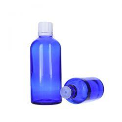 [8024] Butelka szklana niebieska z kroplomierzem i nakrętką z plombą 100 ml - 5 szt