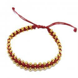 Gold macrame - red