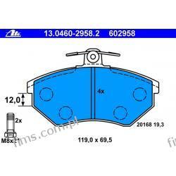 13.0460-2958.2 ATE CENA 108 PLN klocek hamulcowy kpl. P PASS. 88-/GOLF-3 (19,6MM.)