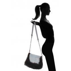 Zamszowa torba z futrem lisa