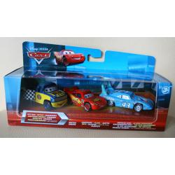 3-pack DEXTER HOOVER, LIGHTNING FLASH McQUEEN (ZYGZAK), DAMAGED KING z bajki CARS 2 produkcji DISNEY PIXAR MATTEL T0315