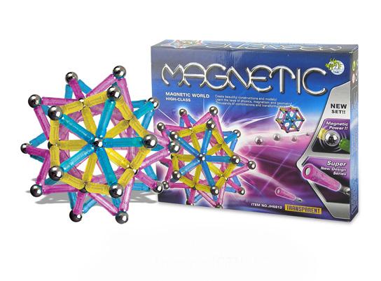 Klocki magnetyczne PASTELOWE - 96el. MAGNETIC WORLD