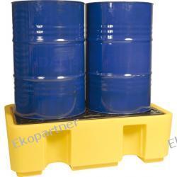 Paleta (wanna) wychwytowa, polietylenowa, 250 l, 2 beczki, żółta