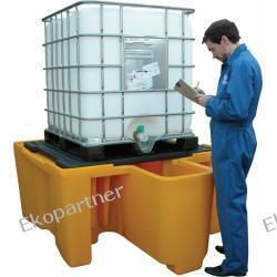 Paleta (wanna) wychwytowa, polietylenowa, 1*IBC/KTC, z kratownicą, ze zintegrowanym przedziałem roboczym, 1100 litrów, żółta