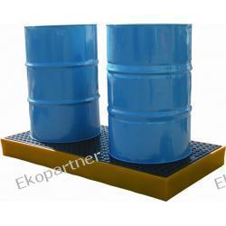 Paleta (wanna) wychwytowa, polietylenowa, platforma robocza LOW, 2 beczki, 120 litrów