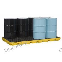 Paleta (wanna) wychwytowa, polietylenowa LOW, Eco 45%, platforma robocza, 8 beczek, 371 litrów