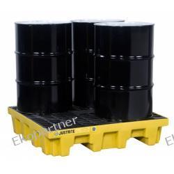 Paleta (wanna) wychwytowa ze spustem, polietylenowa, Eco 35%, 276 l, 4 beczki (kwadrat)