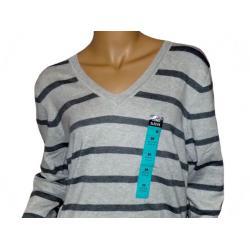 Sweter ATMOSPHERE szary/grafitowe paski V, rozmiar 48