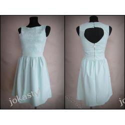 *jokastyl* Śliczna sukienka miętowa L 40 koronka