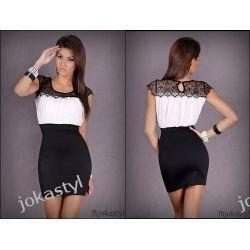 jokastyl* Sukienka biała czarna koronka S 36
