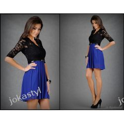 jokastyl* Sukienka koronka - czarny niebieski M