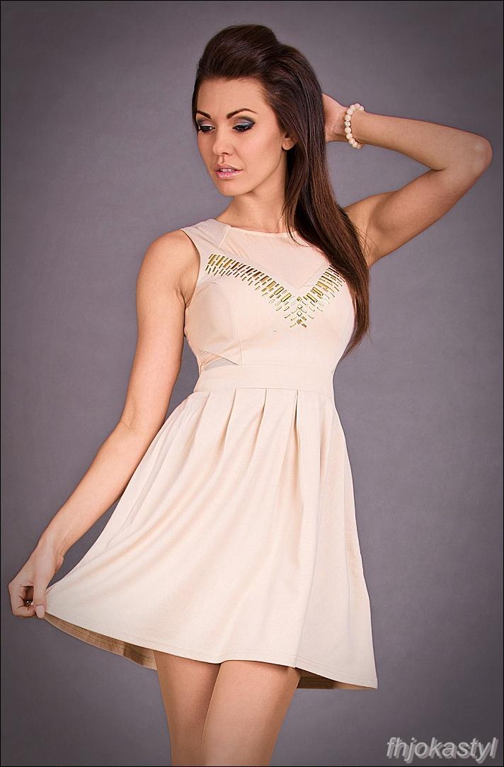 2120df6297 Jokastyl  Rozkloszowana Sukienka Beż L 40