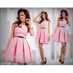 jokastyl różowa rozkloszowana sukienka XL 42 pasek