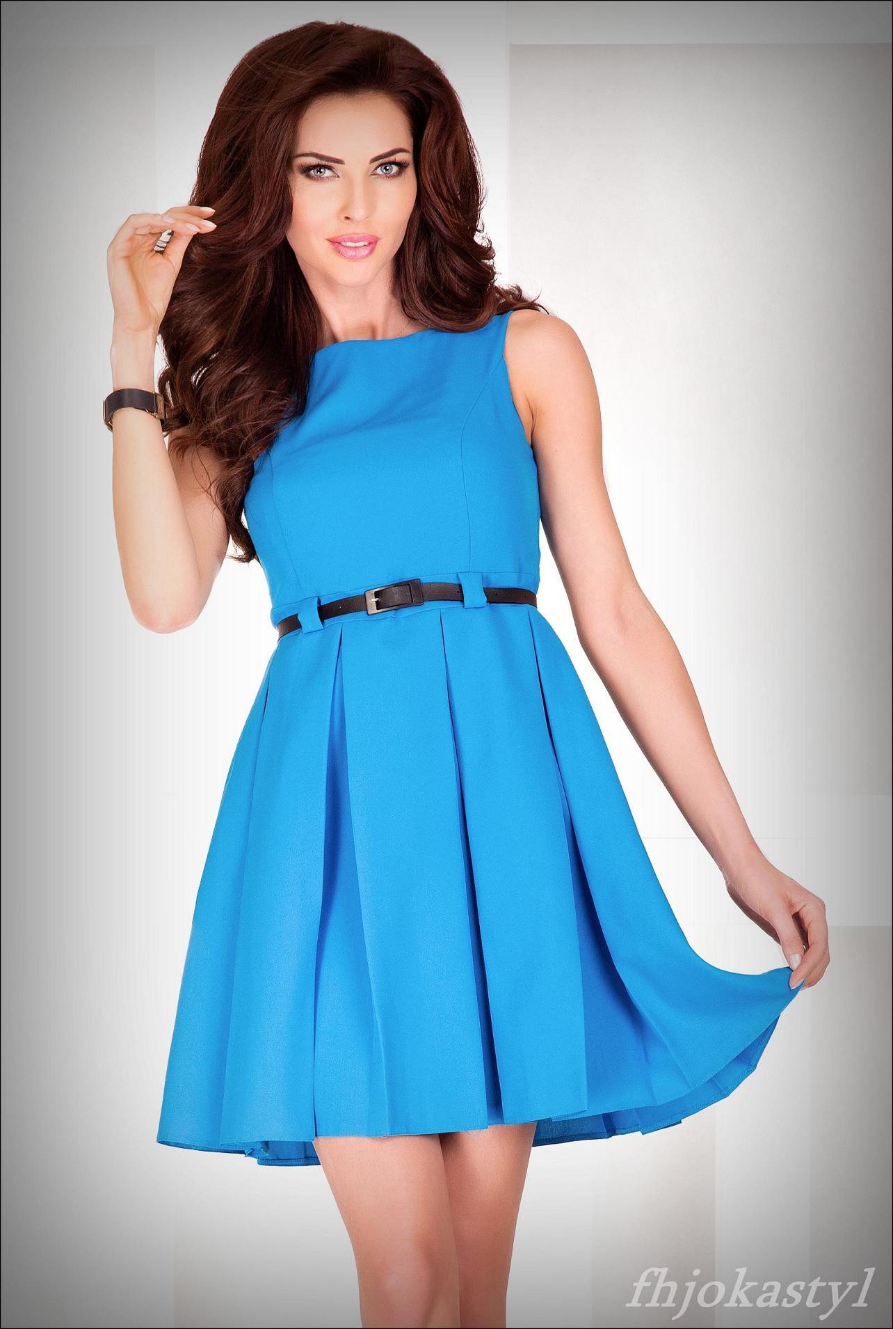 c04ff797b6 Jokastyl  Rozkloszowana Sukienka Niebieska L 40