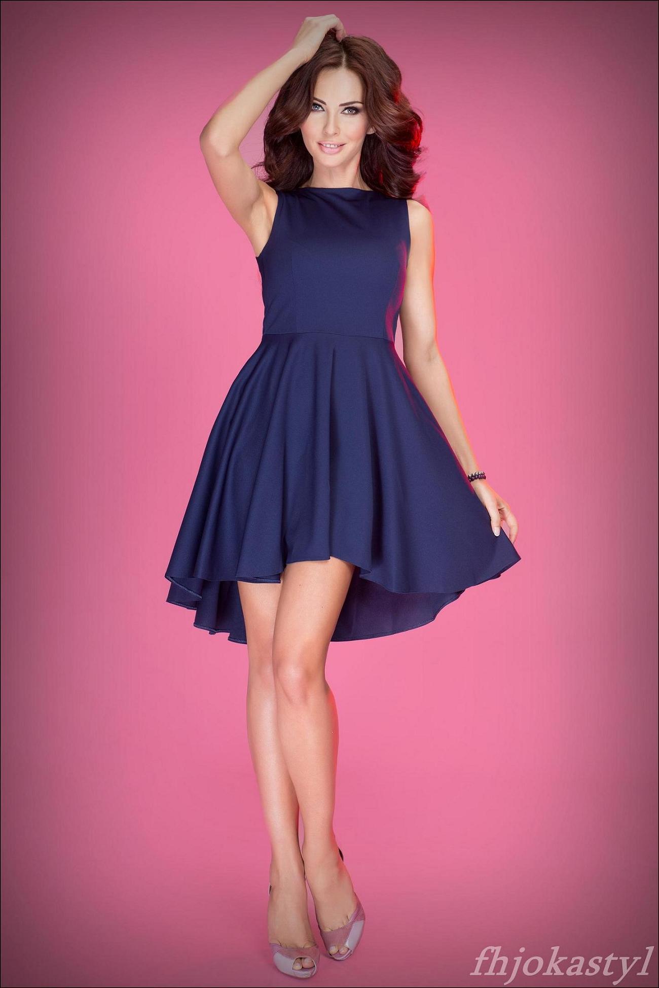fceb875596 Jokastyl Asymetryczna Granatowa Sukienka S 36