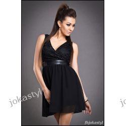 jokastyl* Urocza sukienka koronka M 38 czarna