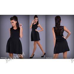 jokastyl Czarna sukienka koronka plecy S 36