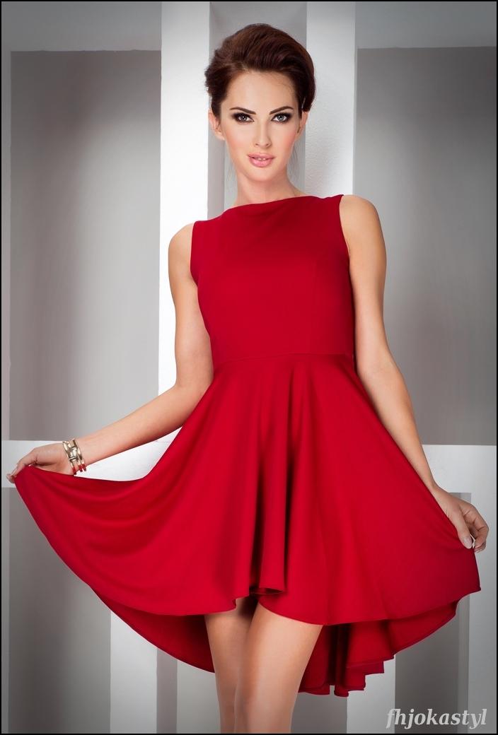 7bd74546a9 Jokastyl Asymetryczna Czerwona Sukienka Xl 42