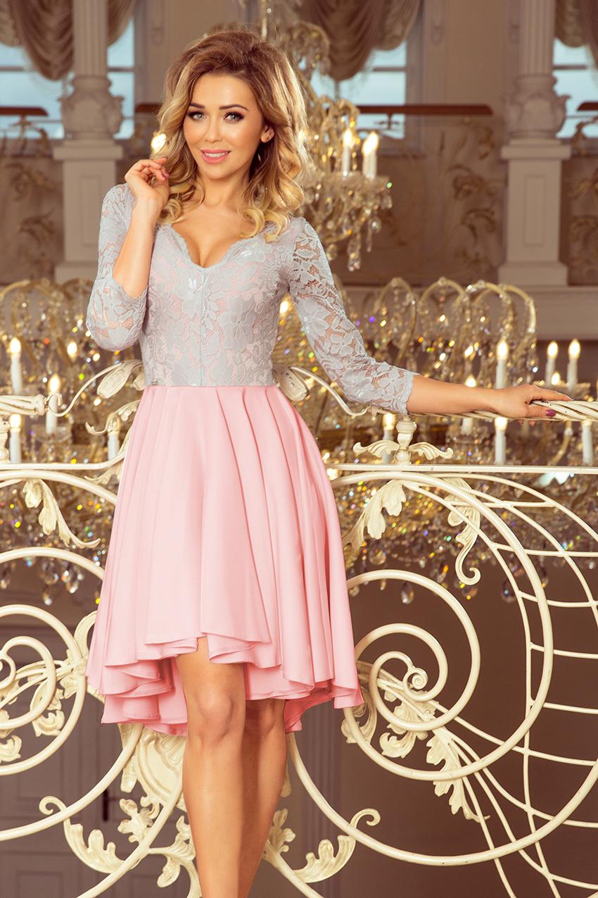 76087b03fc Nicolle Sukienka Koronkowy Dekolt Różowa S M L Xl Xxl